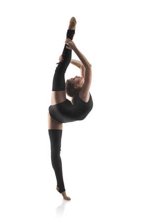 gymnastik: kvinna i gymnastik pose