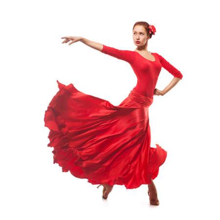 vrouw danser die rode kleding Stockfoto