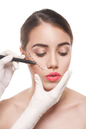 correction: woman before plastic surgery operation Stock Photo