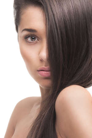 color skin brown: beautiful girl with healthy long hair
