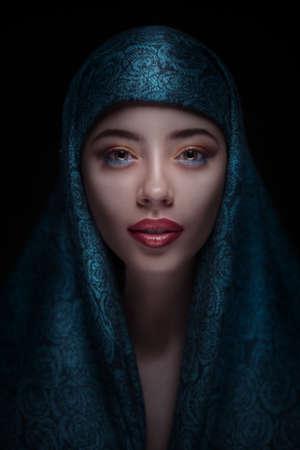 paranja: Portrait of a beautiful woman in paranja