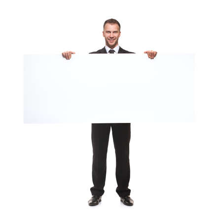 businessman holding blank billboard