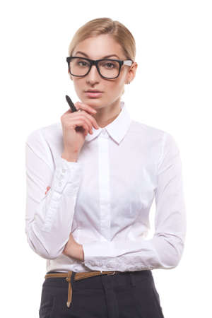 sexy teacher: Attractive businesswoman with a pen
