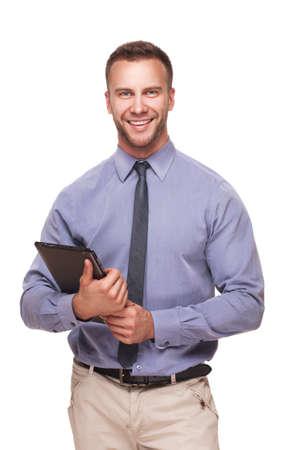 Business man met tablet-pc in zijn handen op een witte achtergrond