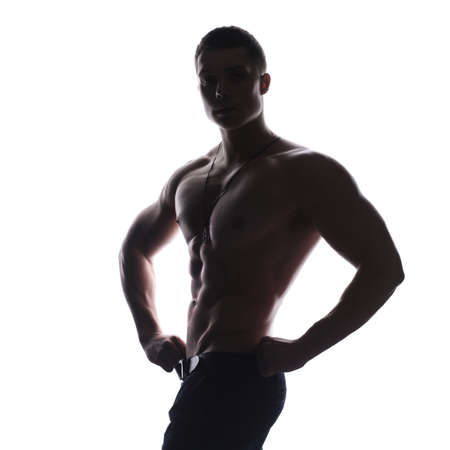 arm of a man: Silhouette of young athlete bodybuilder man isolated over white background Stock Photo