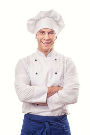 chef uniform: A male chef isolated over white background