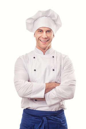cocinero: Un cocinero de sexo masculino aislado sobre fondo blanco