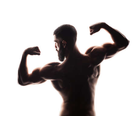 nipple man: closeup of strong athletic man from back isolated on white background