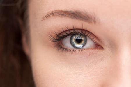 macro shot of beautiful female blue eye