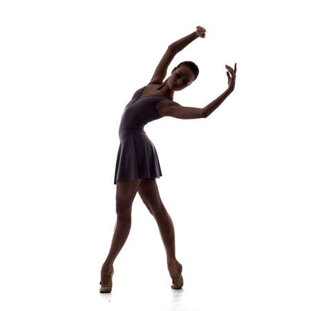 silhouette of young beautiful ballet dancer in lilac dress