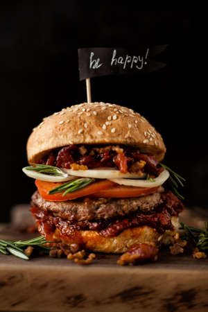 Classic american beef burger. Unhealthy food concept.