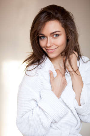 woman in a bathrobe, spa and care portrait 스톡 콘텐츠