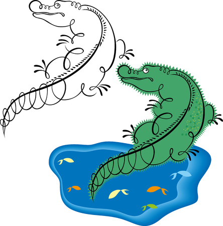 zoo amphibian: vector alligator Illustration