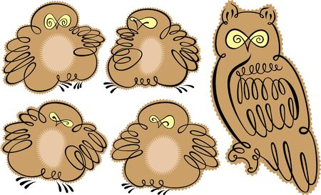 owlet: owl and owlet Illustration