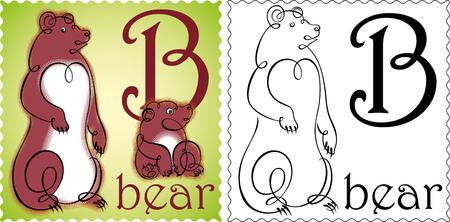 zoo alphabet bear Vector
