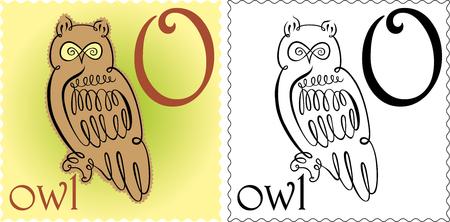 zoo alphabet owl Vector