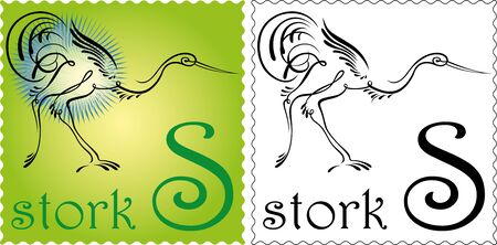 zoo alphabet stork Vector