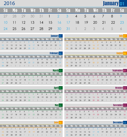 for print: calendar for the 2016 year for print