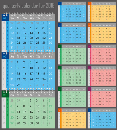 quarterly: quarterly calendar for the 2016 year for print Illustration