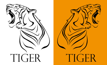 tiger isolated: tattoo tiger logotype