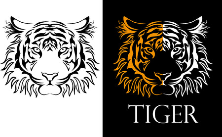 isolated on white: tattoo tiger logotype