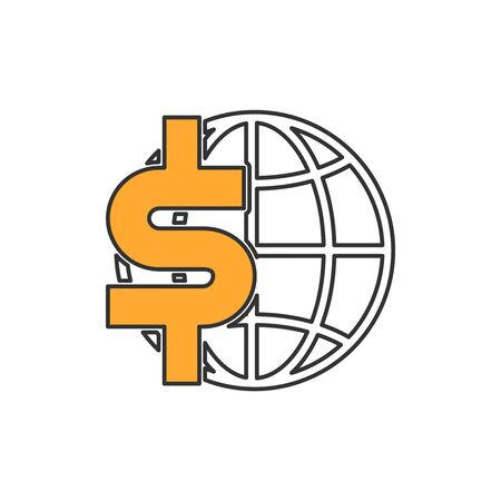 US Dollar sign and globe icon. Concept of global economy. Flat style illustration. Isolated. Stock Vector - 142350646