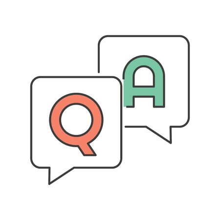 FAQ, questions and answers icon. Q and A speech. Flat style illustration. Isolated on white background.