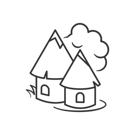 Indian village huts icon. Flat style. Outline thin line. Isolated on white background. Illustration