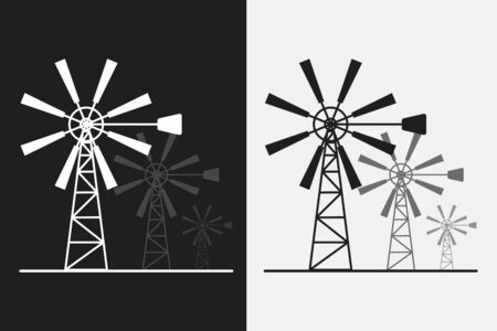 Black and white silhouette windmill alternative and renewable energy icon flat style illustration Ilustrace