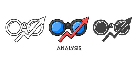 Analysis icon set in different style. Flat style. Isolated on white background.