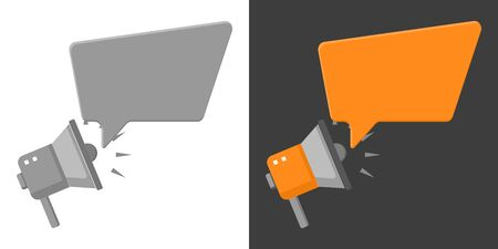 Megaphone with speech bubble icon. Flat style. Isolated.