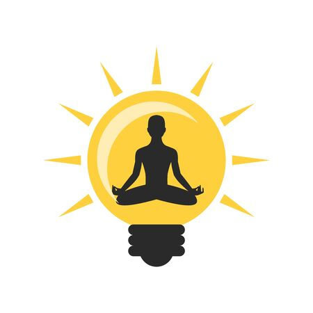 Meditating man and light bulb icon isolated on white