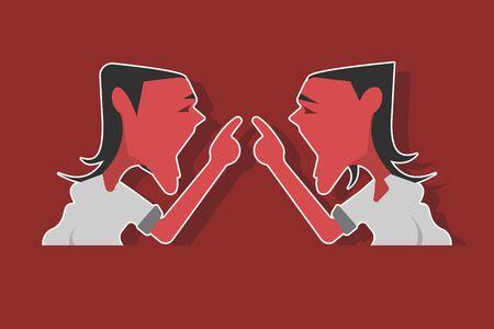 Identical teenage twin boys arguing with each other. Flat style illustration. Illusztráció