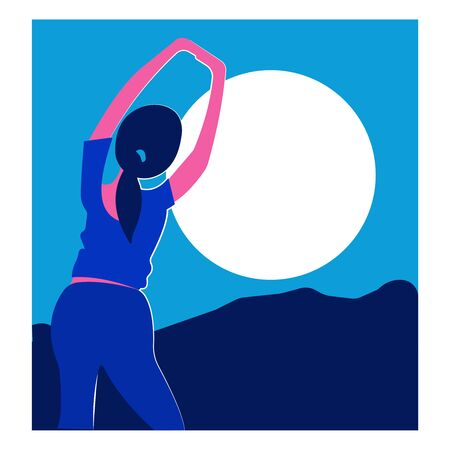 Fitness girl practicing yoga and stretching on mountain with sun light. Stock Illustratie