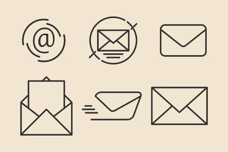 Email, envelope icon set. Outline thin line. Isolated.