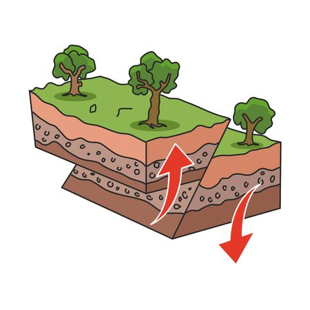 Earthquake or seismic activity diagram. Flat style. Isolated.  イラスト・ベクター素材