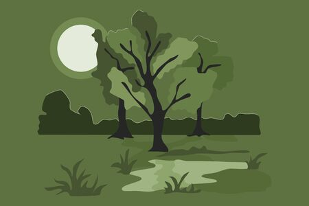 Full moon light in jungle. Flat style illustration.