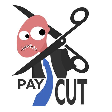 Scissor beheading office worker or employee while his lips are stitched together. Concept of pay cuts during crisis. 일러스트