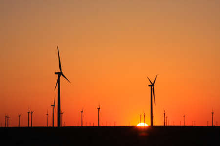 Wind farm at sunset in West Texas Banco de Imagens