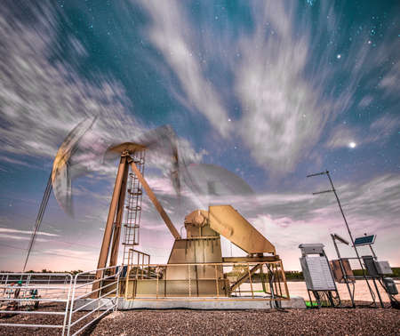shale: Oil Pumpjack Well At NIght