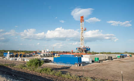 Oil Drilling Rig On Shale Well