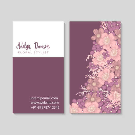 Purple flower business cards template Ilustrace