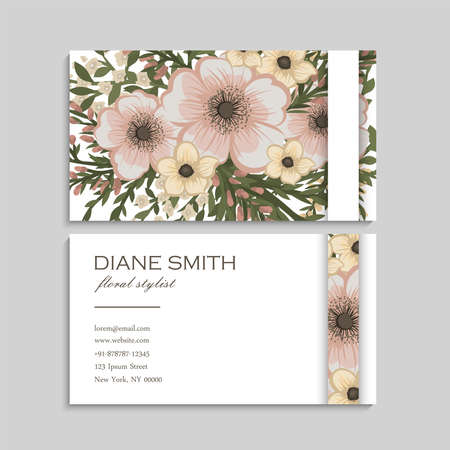 Vintage flower business cards template Ilustrace