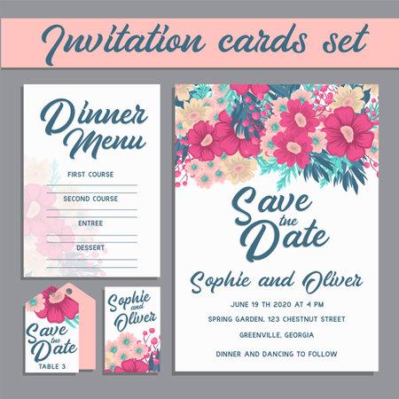 Floral wedding template - pink floral card vector illustration Ilustração Vetorial