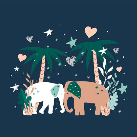 Vector illustration of Cartoon Elephants. Clipart