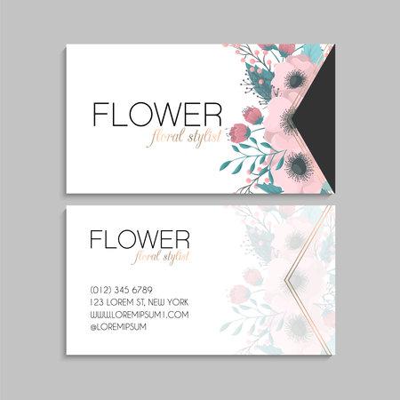 Flower business cards pink flowers vector illustration Vetores