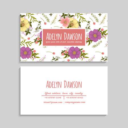 Flower business cards purple flowers vector illustration Ilustración de vector