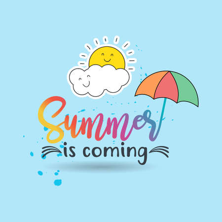 Summer Day is Coming Design on Blue Background with Umbrella and Sun Illustration