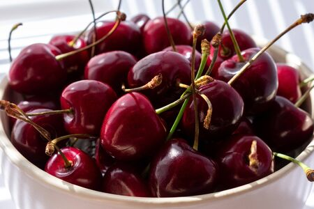 fresh ripe cherries in a ceramic bowl close up. illuminated by the rays of the sun from the window passing through the half-closed blinds.