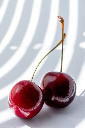 cherry on white background illuminated by the rays of the sun from the window passing through the half-open blinds. vertical photo. fashion Studio photography.